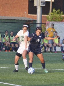 Freshman Morgan Edleman pushed her way to the ball against Truett-McConnell.