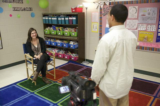 "Former Piedmont Student Carsey Pilcher answers questions for her interview in ""Life After Piedmont."""